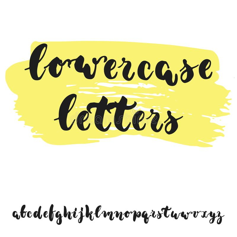 Hand drawn english lowercase lettering alphabet with examples of this font. Modern ink brush handwritten letters isolated on the w stock illustration