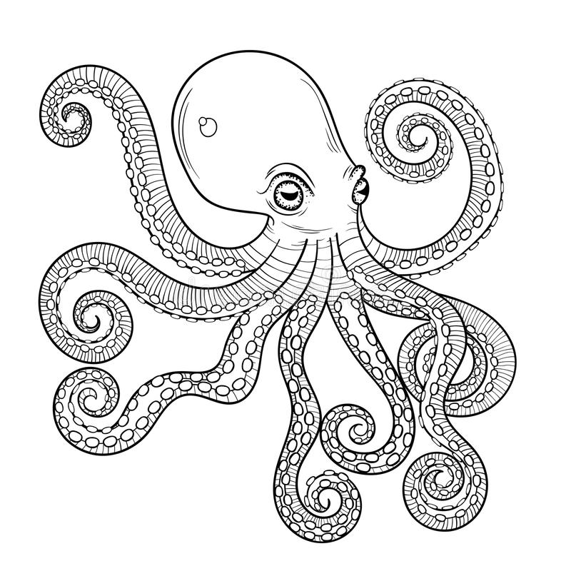 Hand drawn engraving Octopus, animal totem for adult Coloring Pa. Ge in zentangle style, for tattoo, illustration with high details isolated on white background royalty free illustration