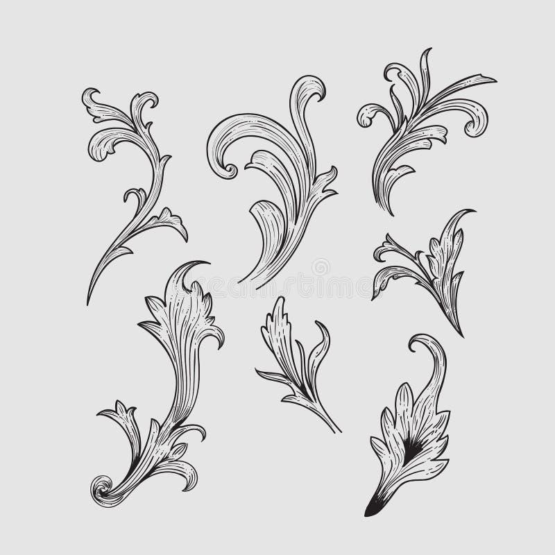 Hand drawn engraving retro elements design vector. Illustration royalty free illustration