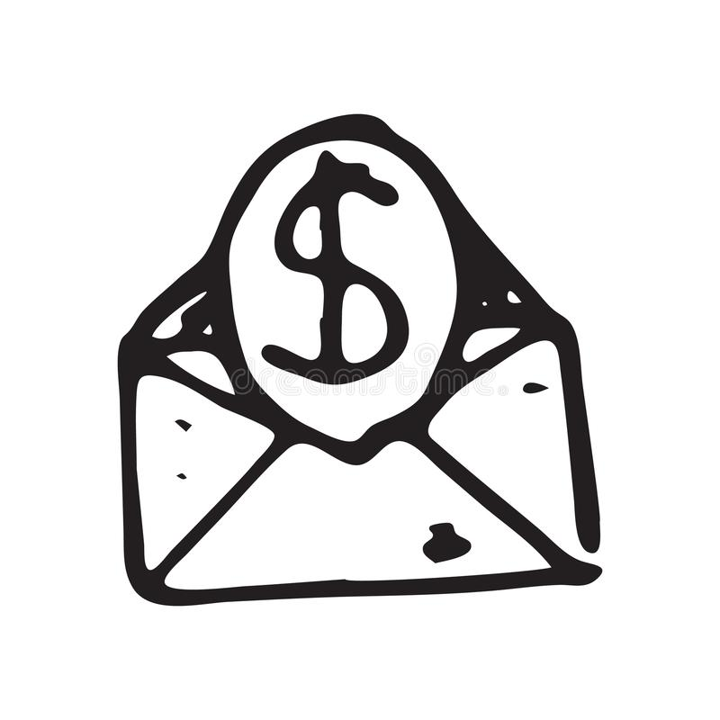 Hand Drawn envelope doodle. Sketch dollar icon. Decoration element. Isolated on white background. Flat design. Vector illustration royalty free illustration