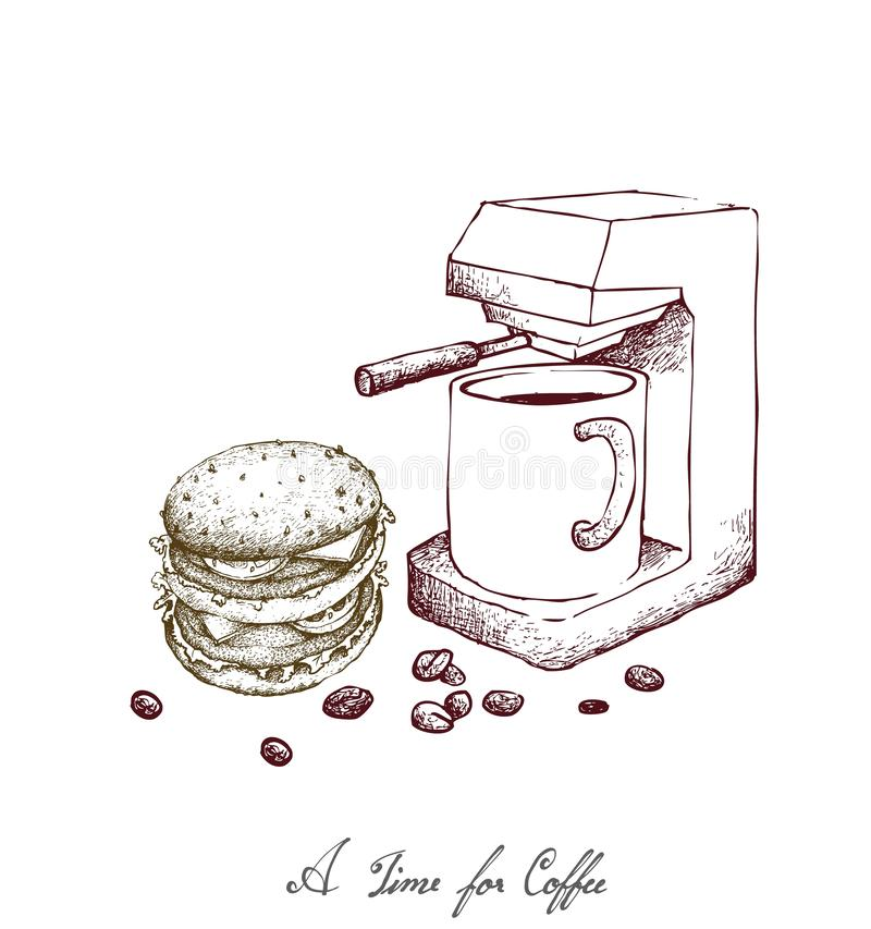Hand Drawn of Espresso Coffee with Cheeseburger. Time for Coffee, Illustration Hand Drawn Sketch of A Cup of Coffee with Espresso Machine and Cheeseburger stock illustration