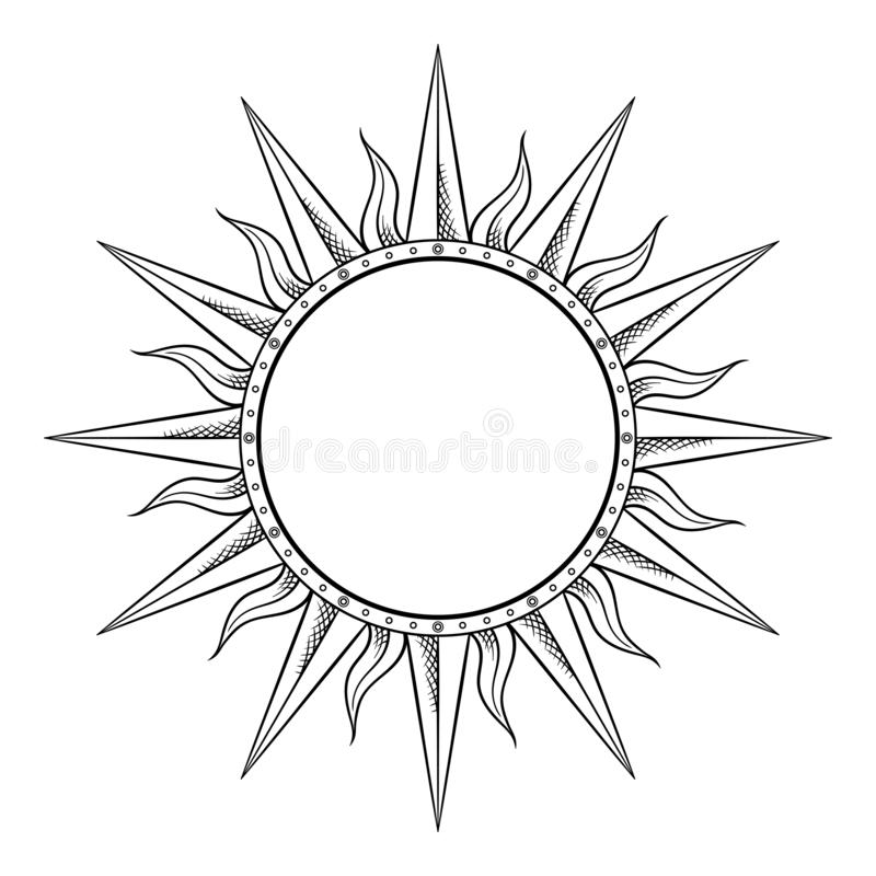 Hand drawn etching style frame in a shape of sun rays vector illustration.  stock illustration