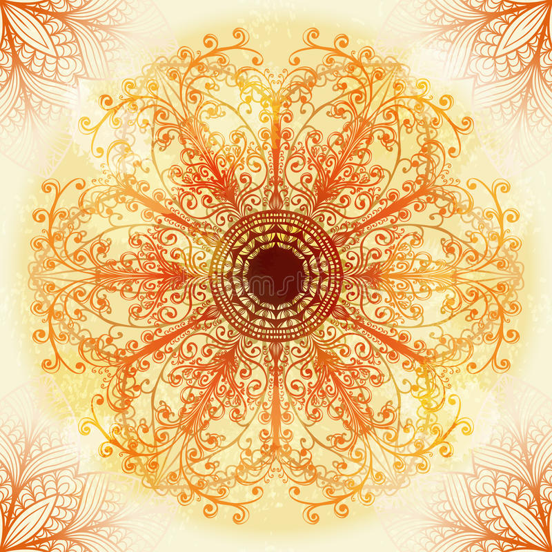 Hand drawn ethnic beige ornament vector illustration