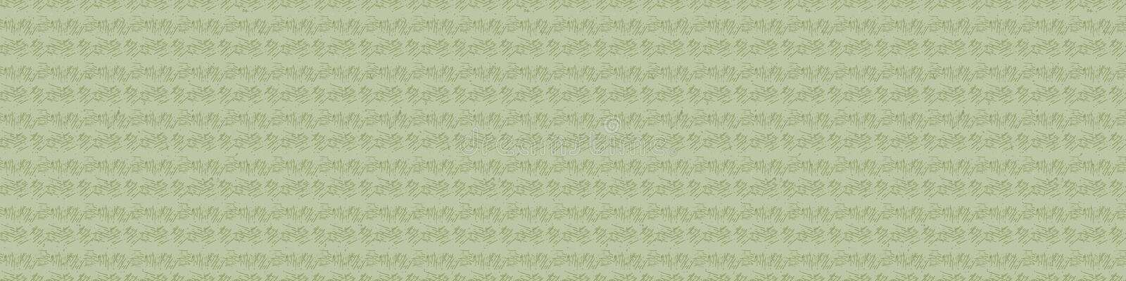 Hand drawn ethnic horizontal stripe seamless border pattern. Modern lines hand drawn in homespun softgrass green neutral tones. Stationery zakka craft washi stock illustration