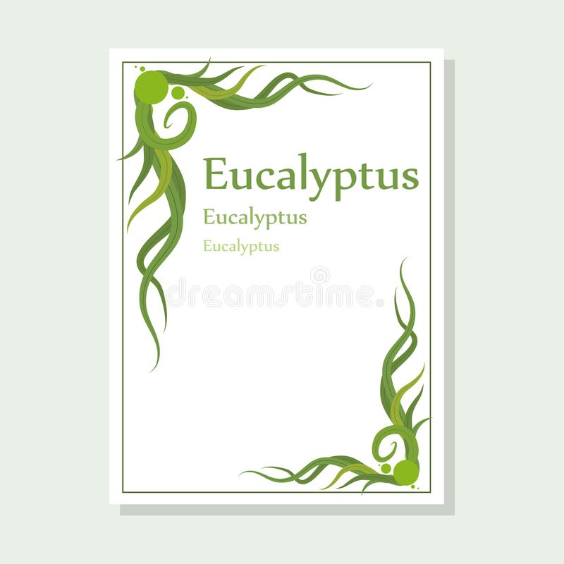 Hand drawn eucalyptus flower, eucalyptus leaves, green leaves, medical plant, eucalyptus tree for logotype, flyer, posters, card,. Label, badge, banner, design royalty free illustration