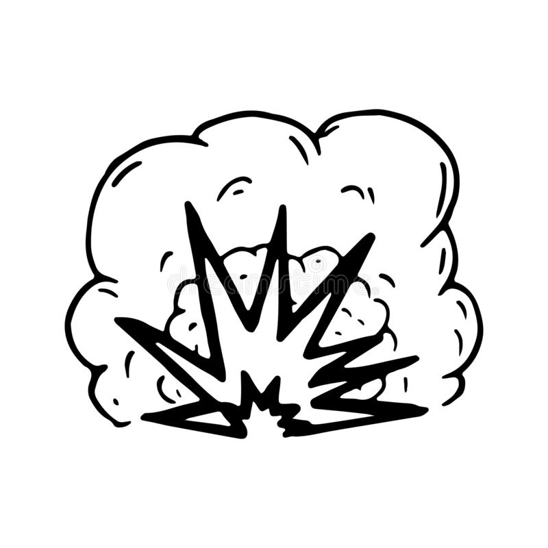 Hand Drawn explosion doodle. Sketch style icon. Military decoration element. Isolated on white background. Flat design. Vector. Illustration stock illustration