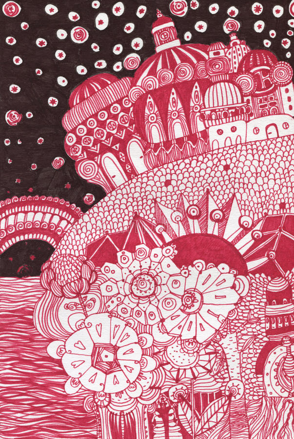 Hand drawn fairy tale palace stock images