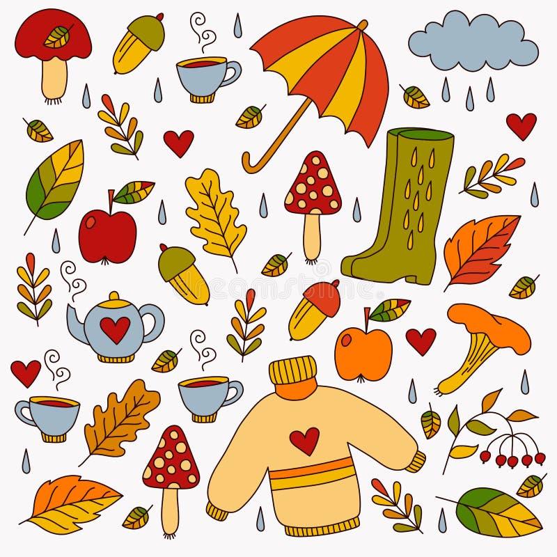 Hand drawn fall autumn symbols vector illustration