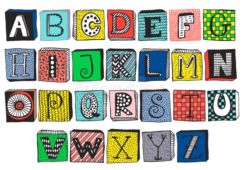 Hand Drawn Fancy Alphabet On Blocks Stock Vector - Illustration of ...