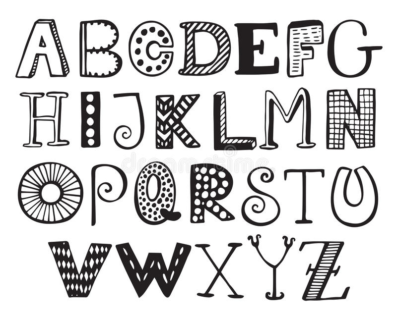 Hand Drawn Fancy Alphabet Funny Doodle Letters Stock Vector