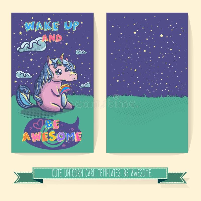 Hand drawn fantasy cartoon unicorn card template. royalty free illustration