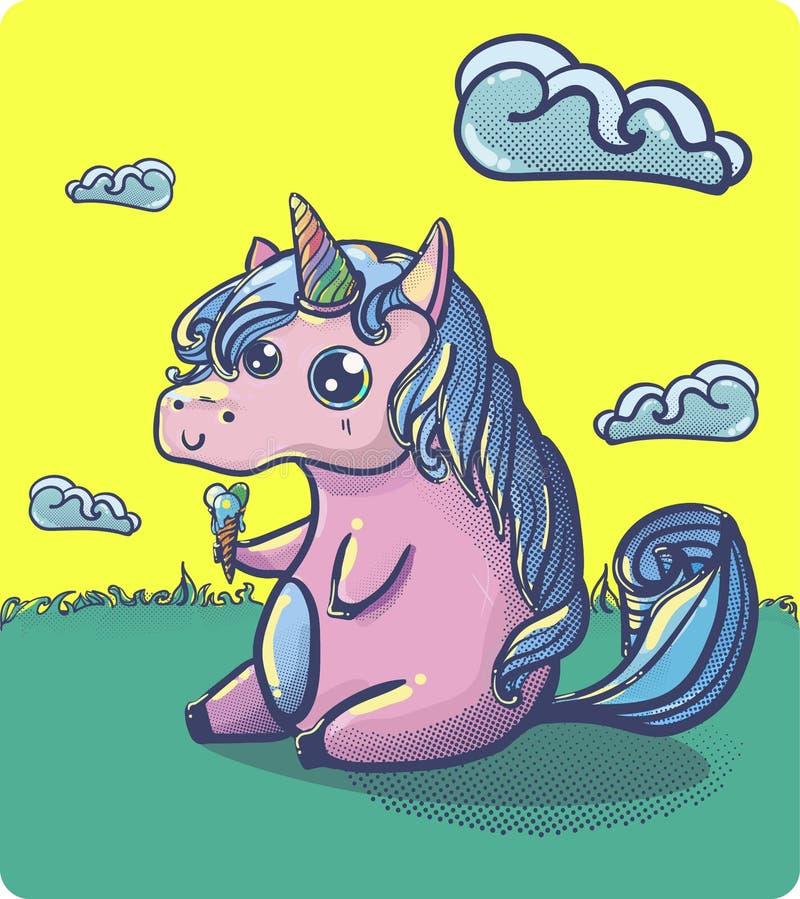 Hand drawn fantasy cartoon unicorn, cute doodle. royalty free illustration