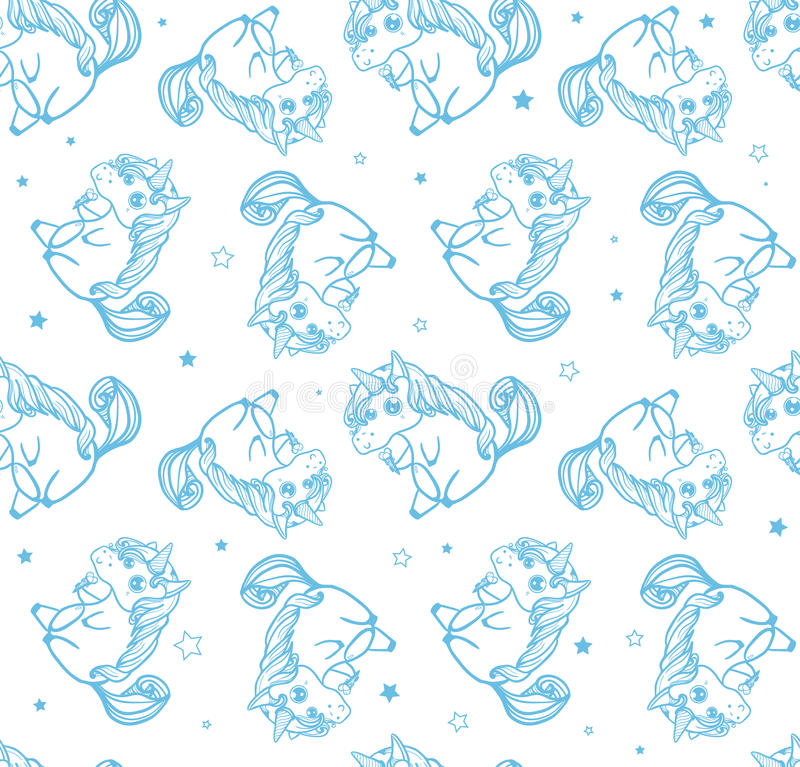 Hand drawn fantasy cartoon unicorn, seamless doodle. vector illustration