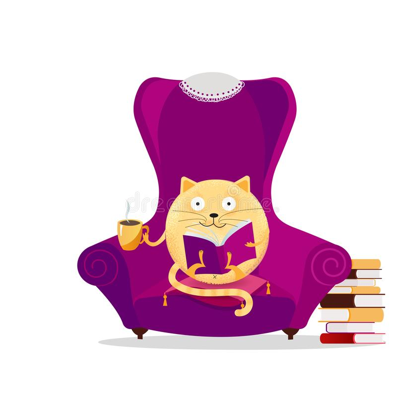 Hand drawn fantasy round cat sitting in big purple armchair and reading book. Relaxing home reading concept. Cute kitty with stock illustration