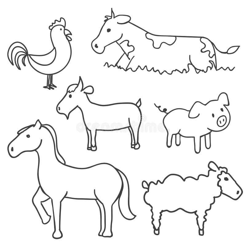 Hand Drawn Farm Animals Stock Images