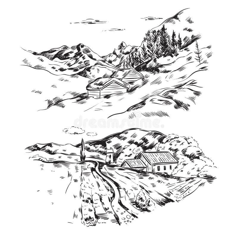 Hand Drawn Farm Landscape vector illustration