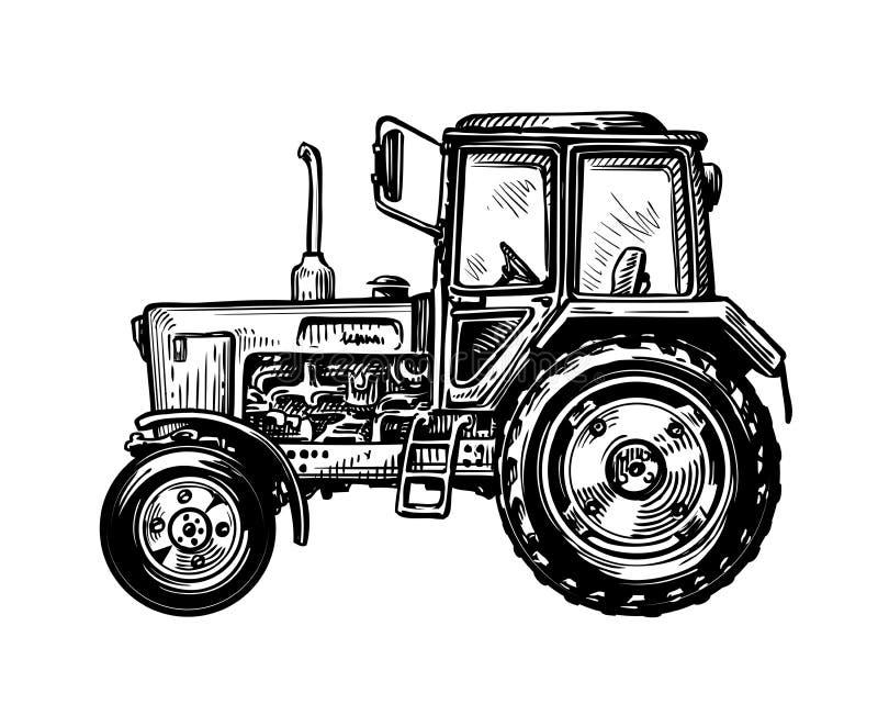 Hand-drawn farm truck tractor. Transport sketch vector illustration vector illustration