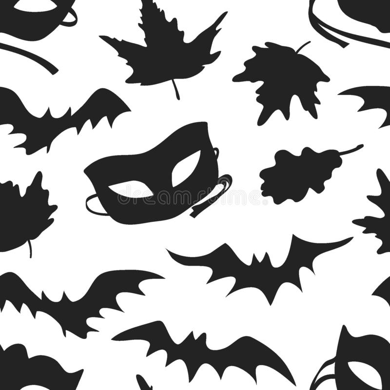 Hand drawn fashion background. Creative ink art work. Actual vector seamless pattern. Halloween set: autumn leaves, mask, bat. Hand drawn fashion background stock illustration