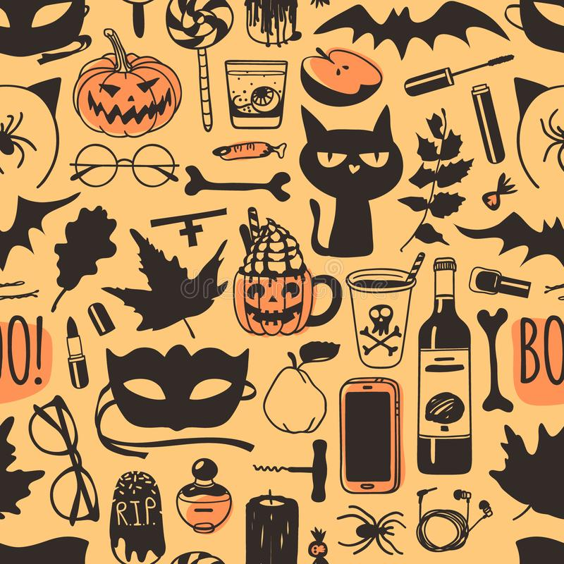 Hand drawn fashion background. Creative ink art work. Actual vector seamless pattern. Halloween set: candys, drinks, fruits, cat,. Mask, glasses, phone, bone royalty free illustration