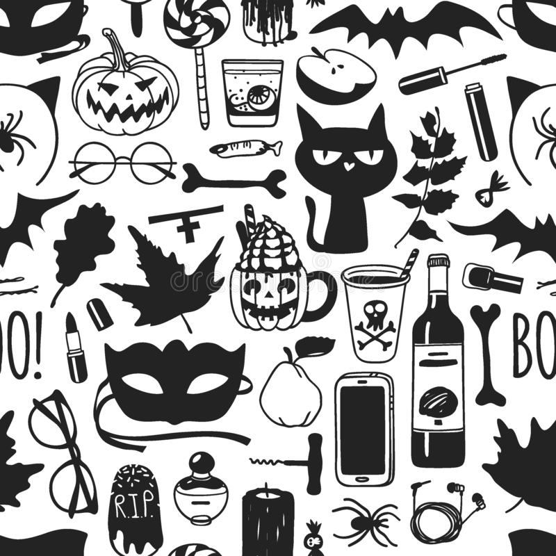Hand drawn fashion background. Creative ink art work. Actual vector seamless pattern. Halloween set: candys, drinks, fruits, cat,. Mask, glasses, phone, bone stock illustration