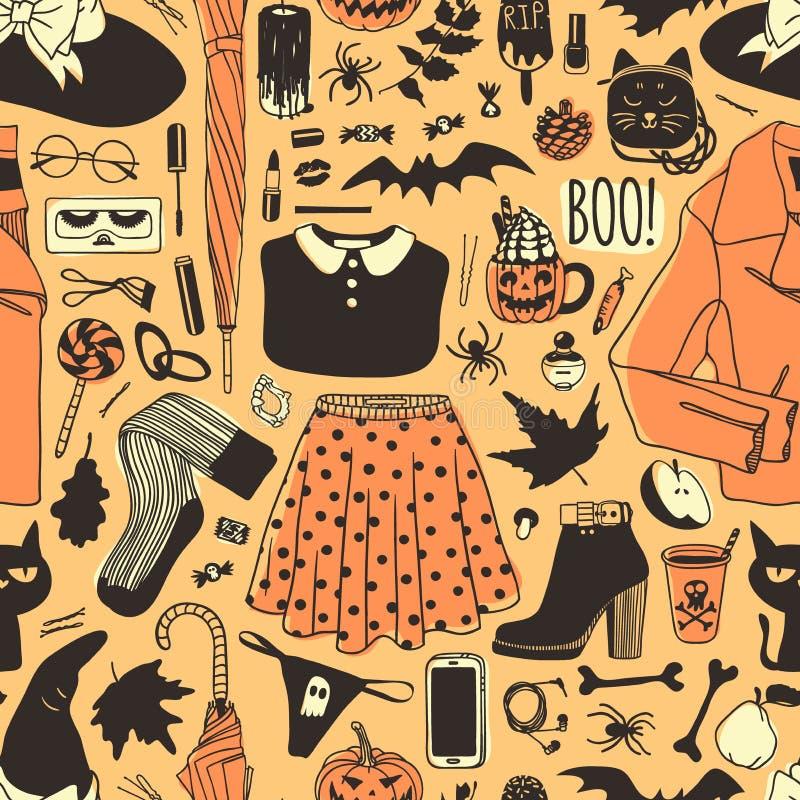 Hand drawn fashion background. Creative ink art work. Actual vector seamless pattern. Halloween set: leather jacket, skirt, hat, b stock illustration