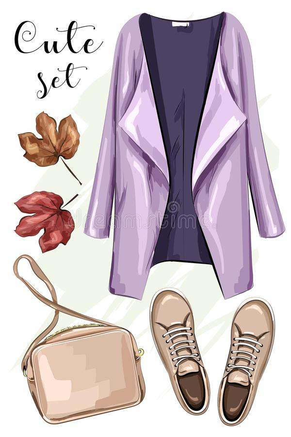 Hand drawn fashion clothes set: coat, bag, shoes. Stylish clothing outfit. Sketch. Vector illustration stock illustration