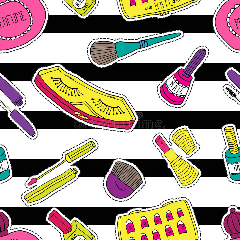Hand drawn fashion cosmetics pattern. Beauty and makeup stickers in cartoon comic style. stock illustration
