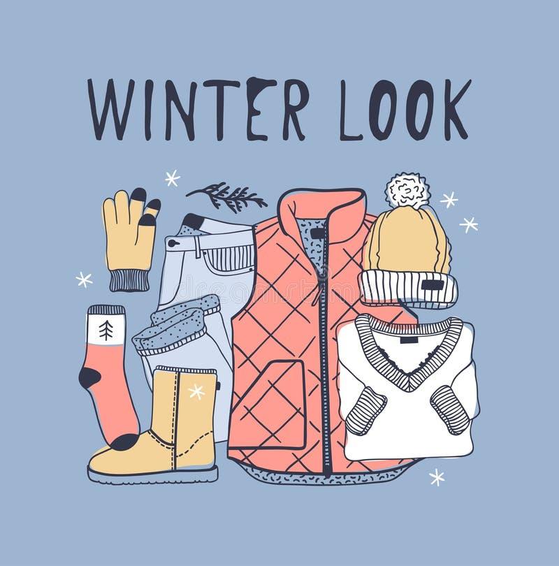 Hand drawn fashion illustration. Creative ink art work. Actual cozy drawing. Winter set, blown vest, jeans, hat, shoes, soc. Hand drawn fashion illustration stock illustration