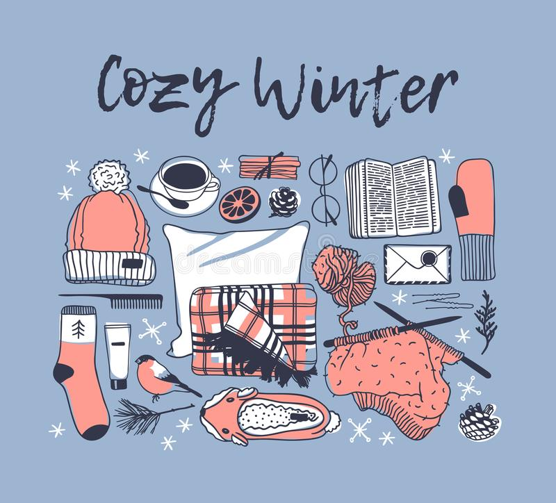 Hand drawn fashion illustration. Creative ink art work. Actual drawing. Winter set, hat, plaid, coffee, book, glasses, glov. Hand drawn fashion illustration vector illustration
