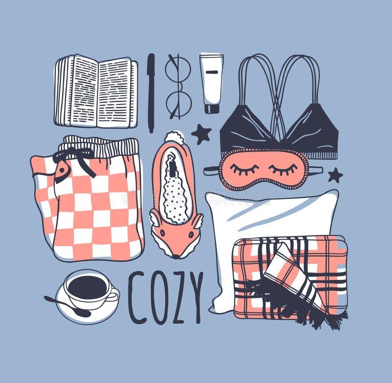 Hand drawn fashion illustration. Creative ink art work. Actual vector drawing. Cozy set, book, glasses, bra, pajamas, plaid, coffe. Hand drawn fashion stock illustration