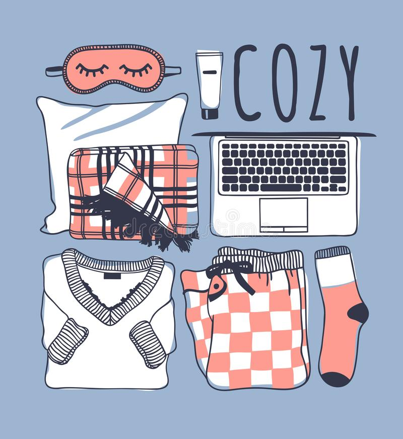Hand drawn fashion illustration. Creative ink art work. Actual vector drawing. Cozy set, pajamas, mask, plaid, sock, laptop. Hand drawn fashion illustration vector illustration