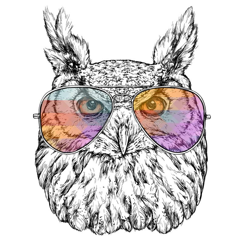 Hand Drawn Fashion Illustration of Hipster Owl with aviator sunglasses. Vector illustration stock illustration
