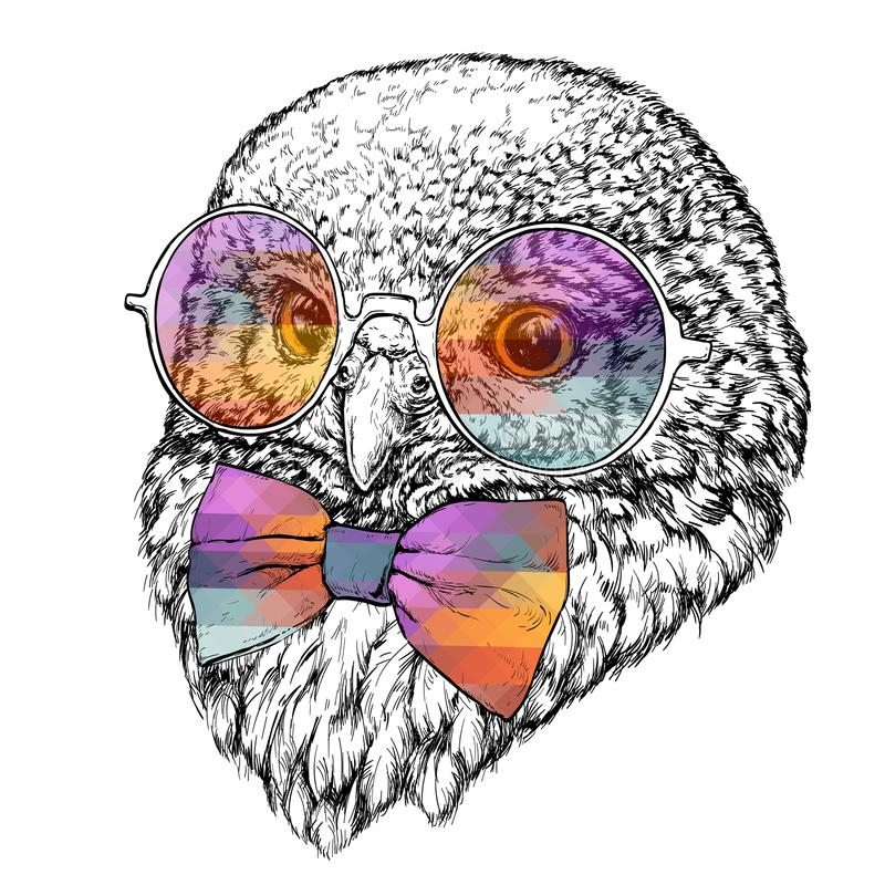 Hand Drawn Fashion Illustration of Hipster Owl with round sunglasses. vector illustration