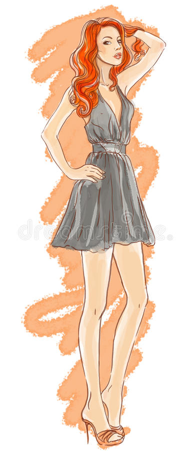 Download Hand-drawn fashion model stock illustration. Image of clothes - 22206924