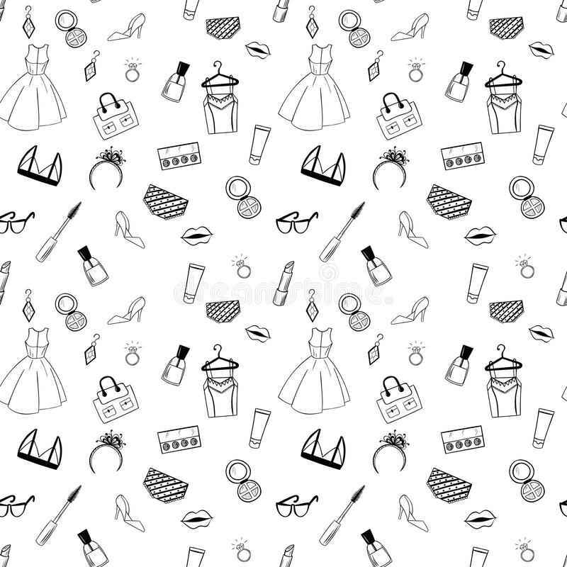 Hand drawn Fashion seamless pattern for adult coloring pages royalty free illustration