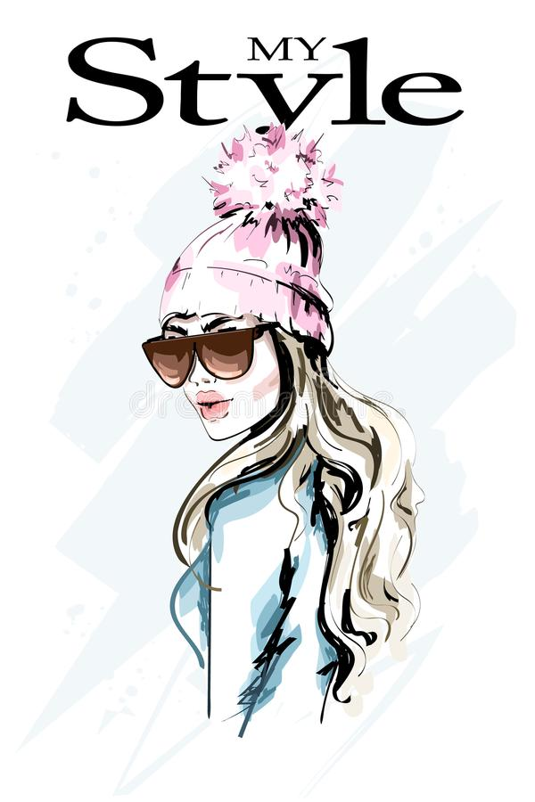 Hand drawn fashion woman in knitted hat with fur pompom. Stylish beautiful young woman portrait. Cute girl in winter clothes. royalty free illustration