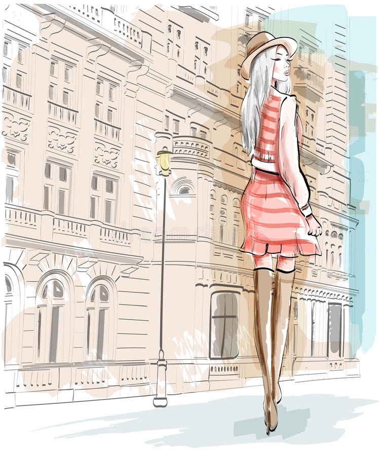 Hand drawn fashion woman on a street background. Stylish girl in a hat. Sketch set. Vector illustration stock illustration