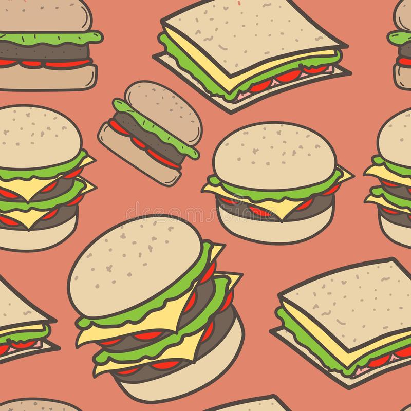 Hand drawn fast food and burgers pattern background. vector illustration