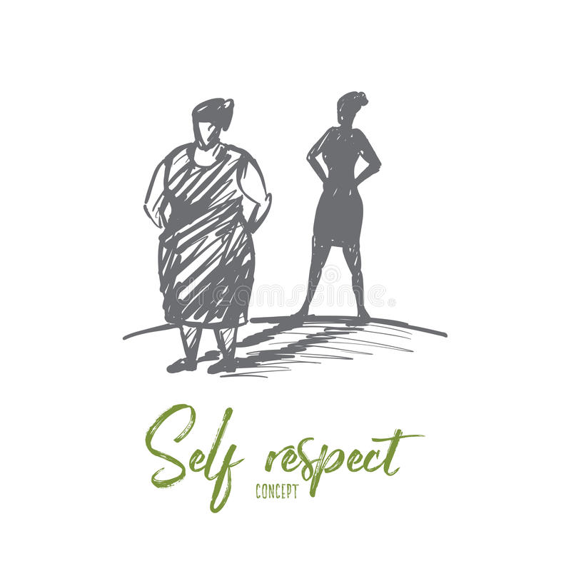 Hand drawn fat woman with her shadow as slim lady vector illustration