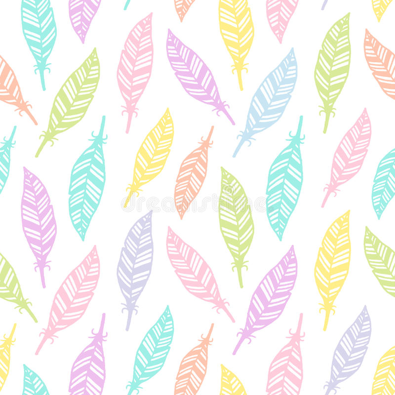 Hand Drawn Feather Seamless Pattern Soft Colored For Wrapping Paper Textile Fabric Wallpaper Pastel Colors