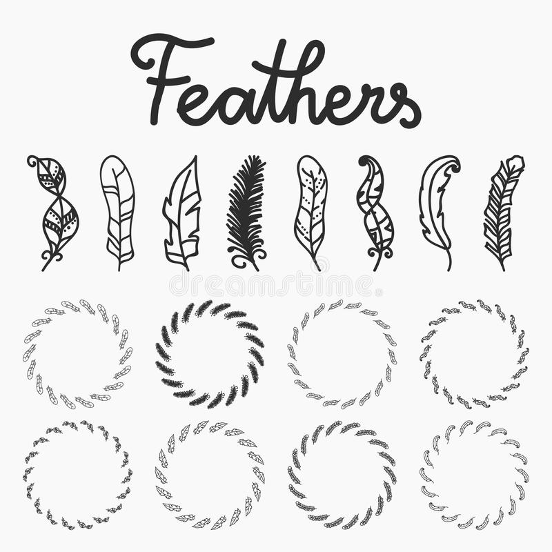 Hand drawn feathers and feathers circle set black isolated on the white background. For aztec, tribal and ethnic style vector illustration