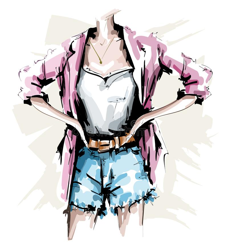 Hand drawn female body. Fashion outfit. Stylish woman look with shorts, shirt, jacket and accessories. Sketch. royalty free illustration