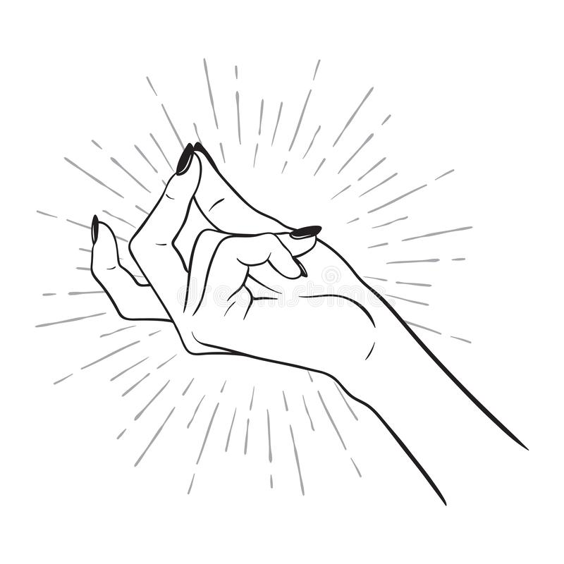 Hand drawn female hand with snapping finger gesture. Flash tattoo, blackwork, sticker, patch or print design vector illustration.  stock illustration