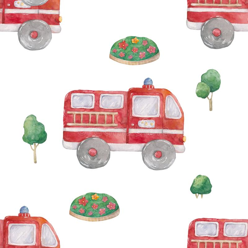 Watercolor Hand drawn fire trucks and green tree seamless pattern on white background. Cartoon illustration, baby cute truck style. Hand drawn fire trucks royalty free illustration