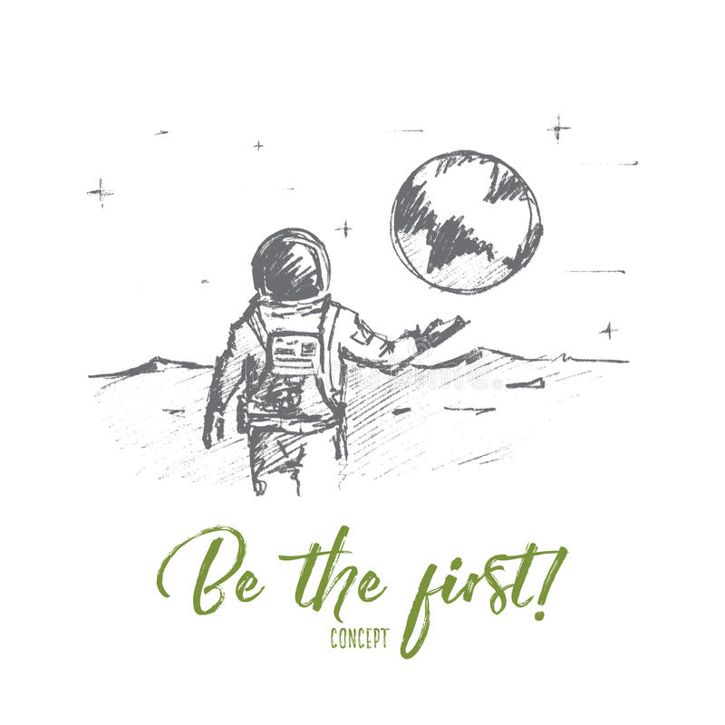 Free Hand Drawn First Man On The Moon With Lettering Royalty Free Stock Photos - 79097148