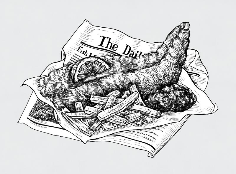 Hand drawn fish and chips stock illustration