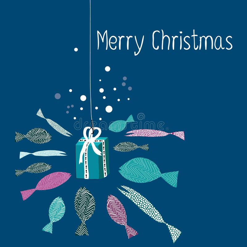 Fish swimming around the present on the rods. Vector illustration of turquoise and purple fish on the dark blue background. Merry. Hand drawn fish swimming stock illustration