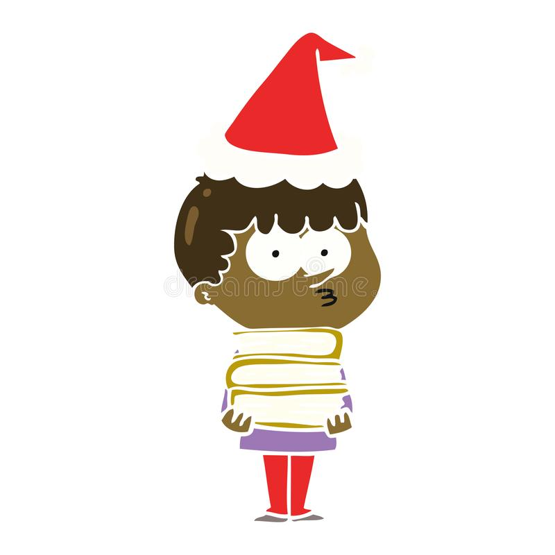 hand drawn flat color illustration of a curious boy with lots of books wearing santa hat vector illustration
