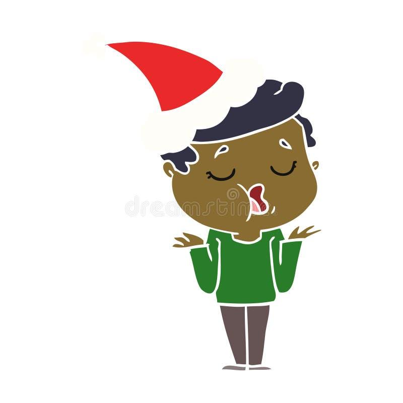 hand drawn flat color illustration of a man talking and shrugging shoulders wearing santa hat royalty free illustration