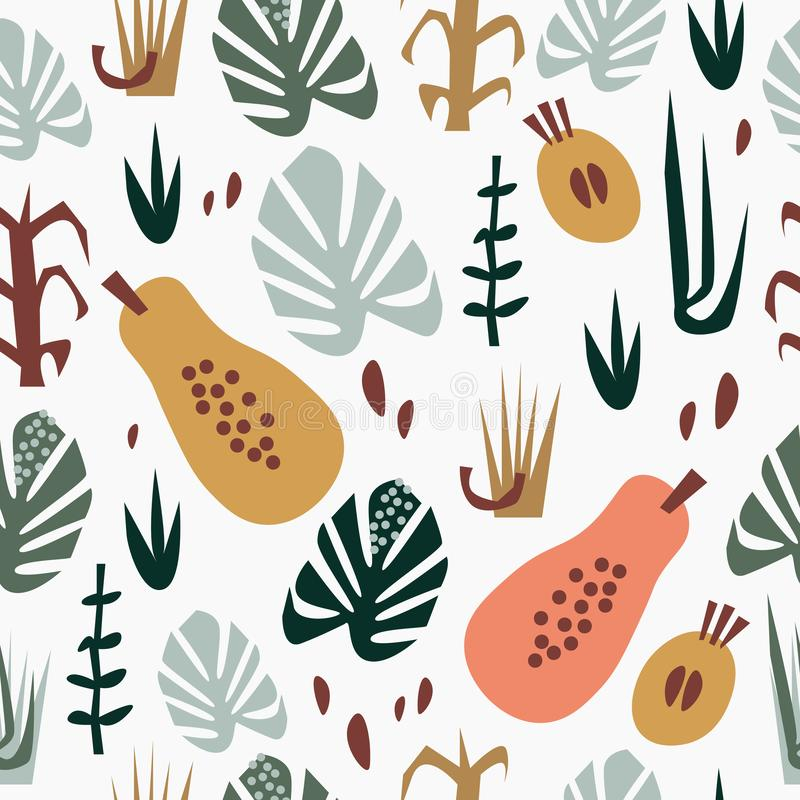 Hand drawn flat seamless pattern with papayas, other fruits and leaves. Summer tropical background. Vector image, clipart vector illustration